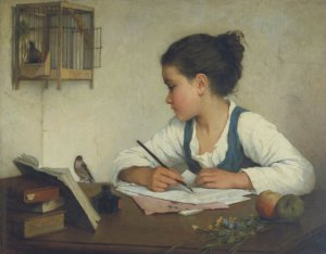 a-girl-writing-by-henriette-brown-free-public-domain